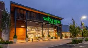 Whole foods store at night