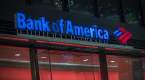bank of america sign at night
