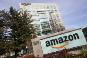 An office building occupied by Amazon.com in Sunnyvale, California on January 1, 2014.