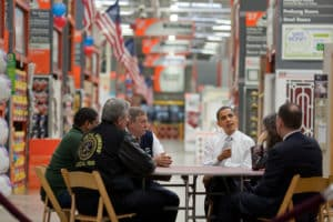 President Barack Obama discusses the economic impact of energy saving home retrofits with labor, manufacturing, and small business leaders at a Home Depot in Alexandria, Va., Dec. 15, 2009.  (Official White House Photo by Pete Souza)