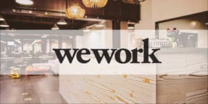 WeWork Logo on glass doors