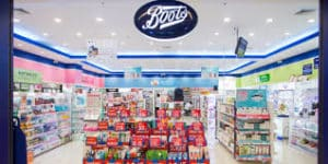 Boots inside store view